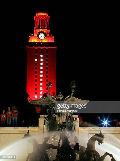 The University of Texas Tower is lit burnt orange with a number 1 in recognition of the Texas Longhorns national college football championship on...