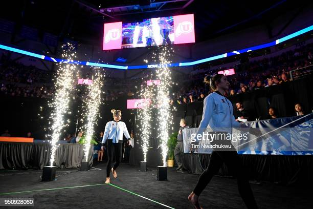 The University of Utah is introduced during the Division I Women's Gymnastics Championship held at Chaifetz Arena on April 21 2018 in St Louis...