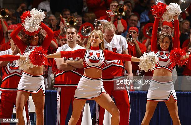 The University of Utah Runnin' Utes cheerleaders perform during the first round game of the NCAA Division I Men's Basketball Tournament against the...