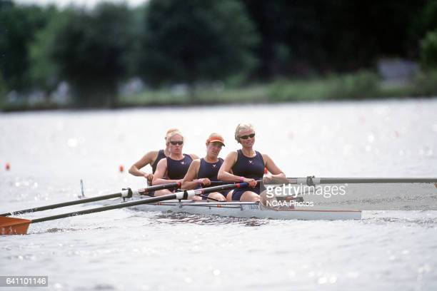 The University of Virginia Fours group of Meg Van Dam Halyer Nunn Blythe Daly Margot Noordzij and coxswain Liz Arnebeck compete in the Division I...