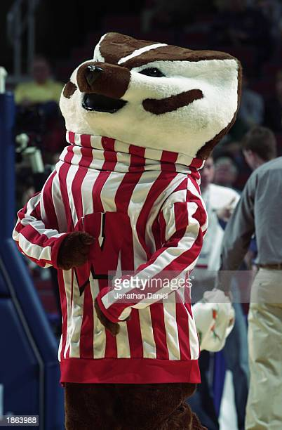 The University Wisconsin Badger entertains the audience during the Big Ten Men's Basketball Tournament against the Ohio State University Buckeyes at...