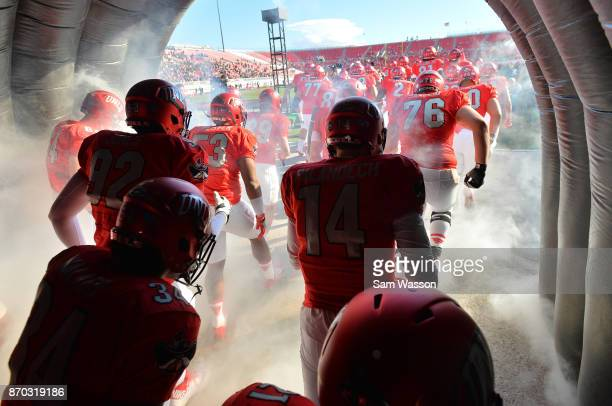 The UNLV Rebels take the field before their their game against the Hawaii Warriors at Sam Boyd Stadium on November 4 2017 in Las Vegas Nevada