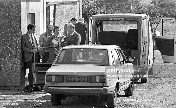 The unmarked Garda car in which Detective Garda Frank Hand was killed in during the raid on the Drumree Post Office Co Meath Photographer Tom Burke...