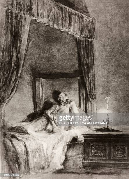 The unnamed man in the bed in his room overwhelmed by anxiety, illustration by Gaetano Previati , from The Betrothed, A Milanese story of the 17th...