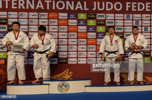 The unprecedented situation for the over 100kg medallists LR Silver Hisayoshi Harasawa and Takeshi Ojitani after both were disqualified in the final...