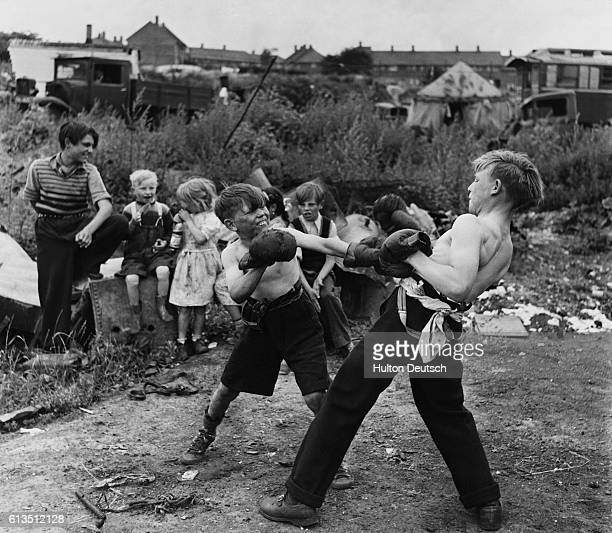 The unromantic gypsies Children boxing in a gypsy camp in Kent England 1951 Like all boys these gypsy lads like to try their hand at boxing...