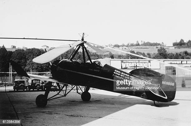 The unusual looking Pitcairn PCA2 autogiro at Boeing Field in Seattle Washington in 1933