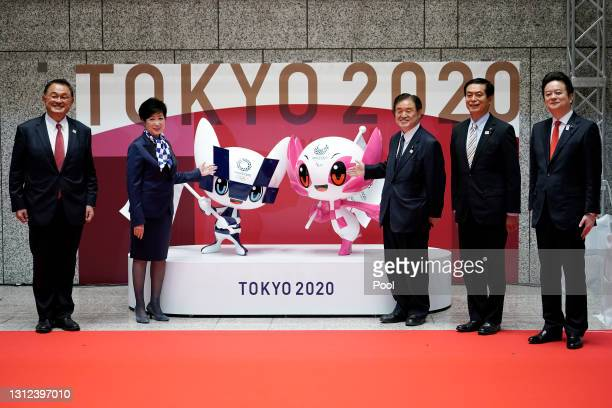The unveiled statues of Miraitowa and Someity, officials mascots for the Tokyo 2020 Olympics and Paralympics, are seen to mark 100 days before the...