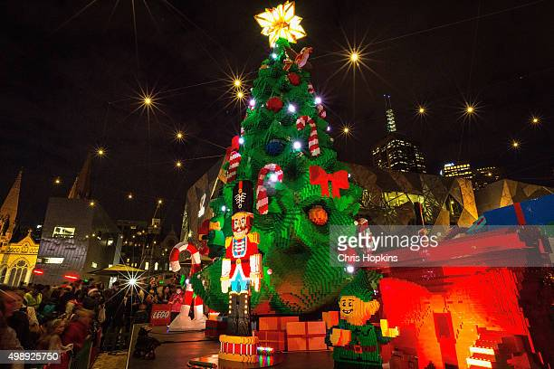 The unveiling and lighting of the Lego Christmas tree at Federation Square on November 27, 2015 in Melbourne, Australia. Over half a million Lego...