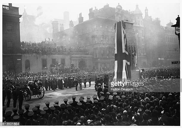The unveiling ceremony of the Cenotaph in London's Whitehall by King George V.
