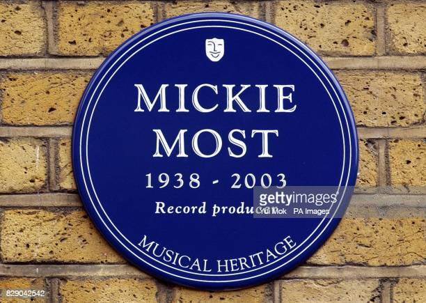 The unveiling of a Heritage Foundation Blue Plaque in honour of the late record producer Mickie Most at RAK recording studios in St Johns Wood London