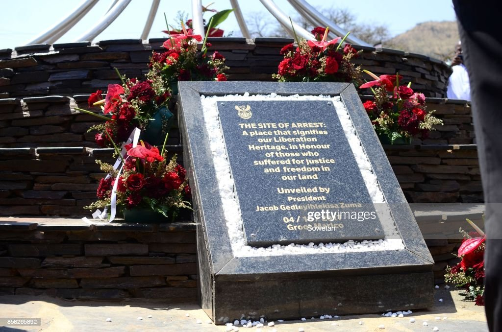 South African President Jacob Zuma unveils monument at Groot Marico arrest site : News Photo