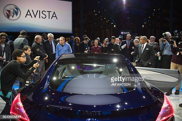 The unveiling of the Buick Avista concept coupe is seen ahead of the North American International Auto Show in Detroit Michigan January 10 2016...