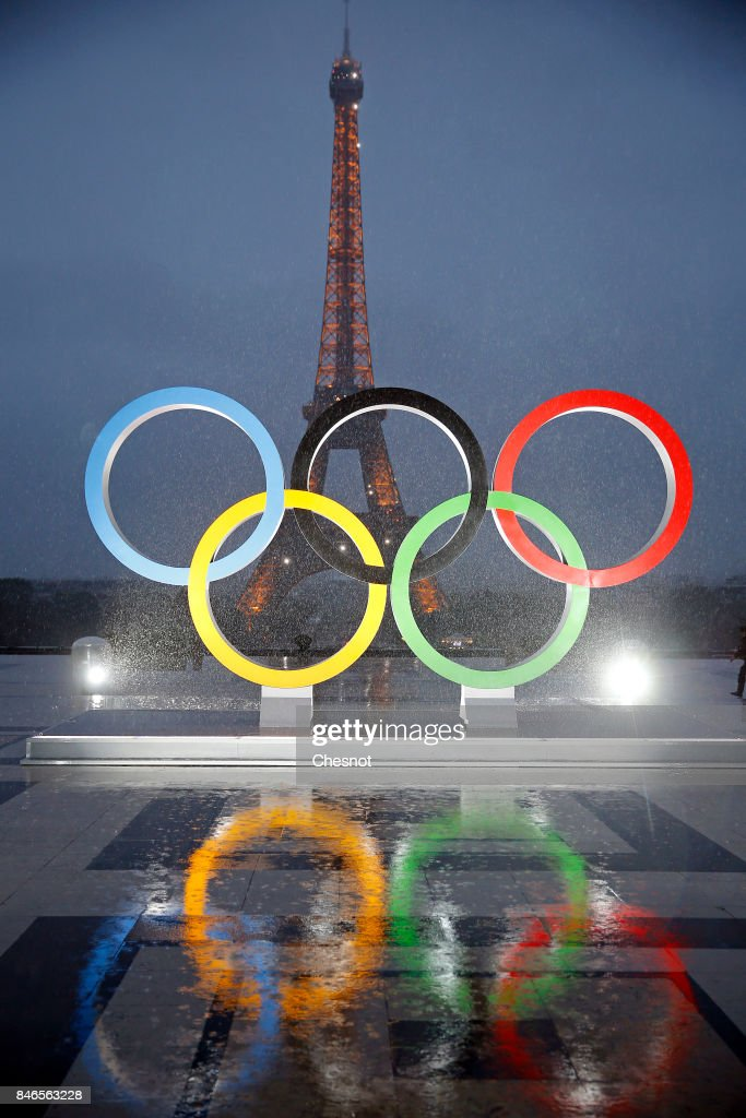 The unveiling of the Olympic rings on the esplanade of Trocadero in front of the Eiffel tower after the official announcement of the attribution of the Olympic Games 2024 to the city of Paris on September 13, 2017 in Paris, France. For the first time in history, the International Olympic Committee (IOC) confirms two summer Games host cities at the same time, Paris will host the Olympic Games in 2024 and Los Angeles in 2028.