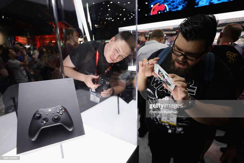 The upcoming 'XBox One X' is displayed during the Electronic Entertainment Expo E3 at the Los Angeles Convention Center on June 13, 2017 in Los Angeles, California. The console will be released on November 7, retail cost of $499.