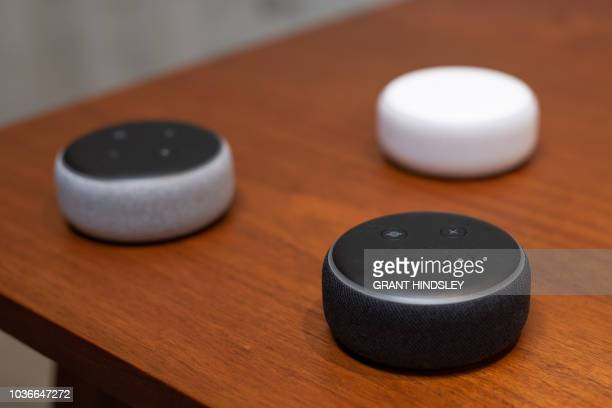 The updated Echo Dot is displayed in Amazon's Day 1 building in Seattle on September 20 2018 Amazon weaves its Alexa digital assistant into more...