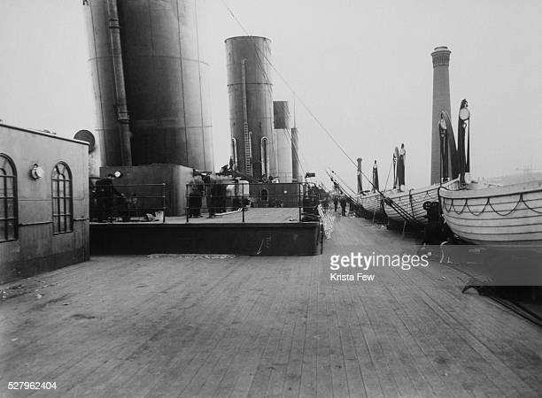 The upper deck and large stacks of the Titanic. The Titanic struck an iceberg and sank on her maiden voyage on April 14-15, 1912.