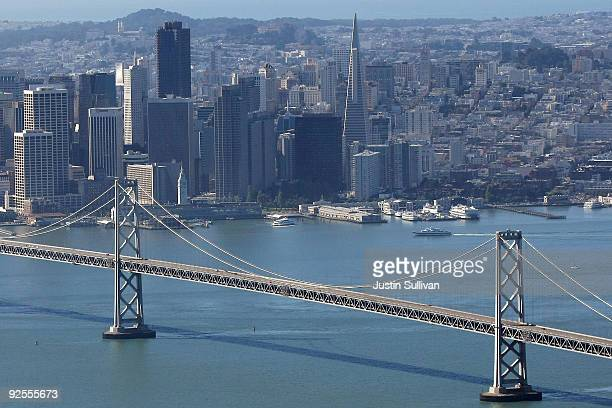 The upper deck of the western span of the San Francisco Bay Bridge is seen without traffic October 30 2009 in San Francisco California Thousands of...