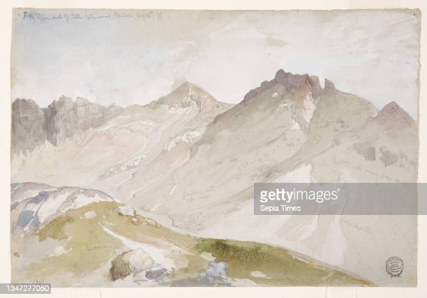 The Upper End of Little Cottonwood Canyon, Wasatch Range, near Ogden, Utah, Thomas Moran, American, b. Britain, 1837–1926, Brush and watercolor,...