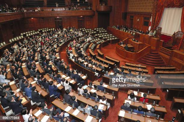 The Upper House plenary session passes the anticonspiracy legislation at the Diet building on June 15 2017 in Tokyo Japan With the support of the...