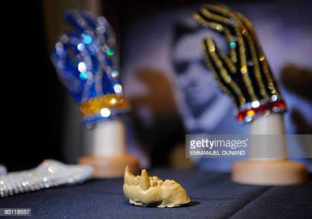 The upper mold used to fit Michael Jackson with animal fangs for the award winning music video Thriller is on display at an auction preview in New...
