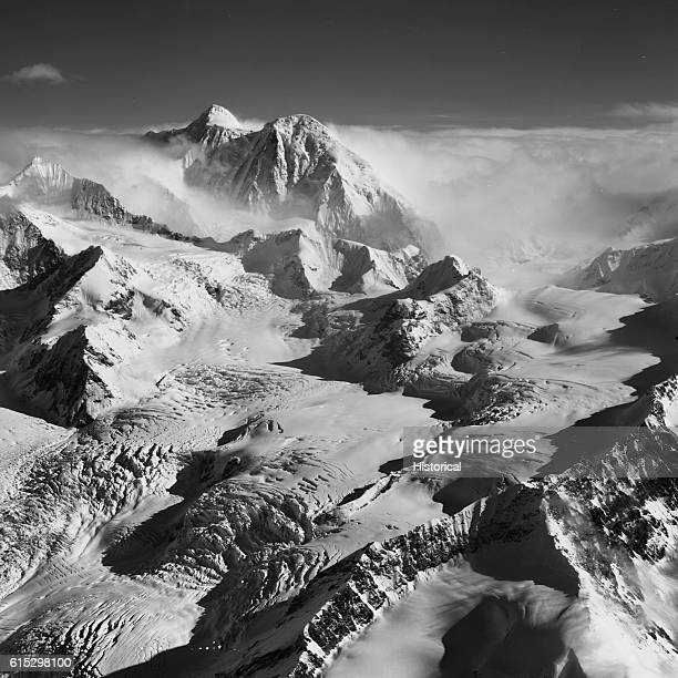 The upper reaches of the Susitna Glacier, on cloud-covered Mount Hayes in the Alaska Range. Alaska, September 1966.
