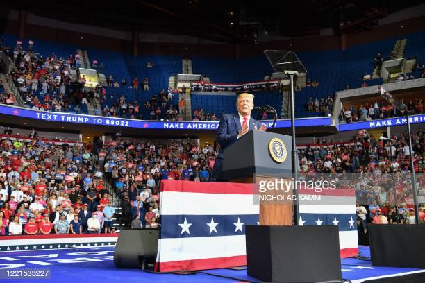 The upper section is seen partially empty as US President Donald Trump speaks during a campaign rally at the BOK Center on June 20, 2020 in Tulsa,...