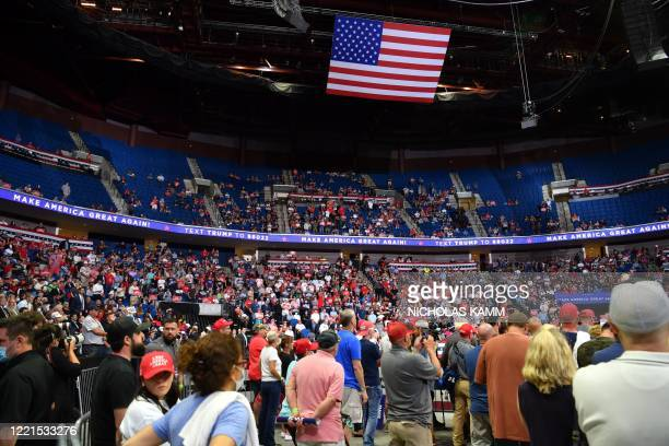 The upper section of the arena is seen partially empty as US President Donald Trump speaks during a campaign rally at the BOK Center on June 20, 2020...