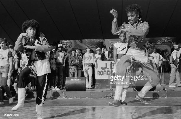 The 'Uprock' dancers perform for the crowd at the 'Hip Hop Jam', a free festival held by the GLC on the South Bank, London, 9th September 1984. DJ's...