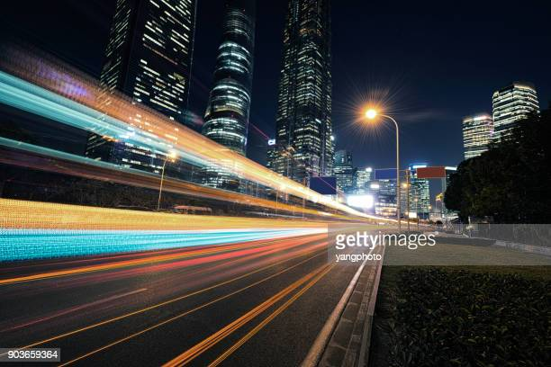 the urban traffic - long exposure stock pictures, royalty-free photos & images