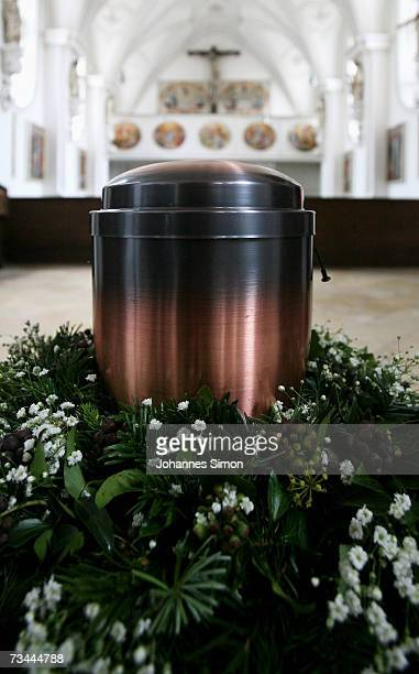 The urn of the deceased writer LotharGuenther Buchheim stands in the Hofmarkkirche church on February 28 in Bernried Germany The funeral will take...