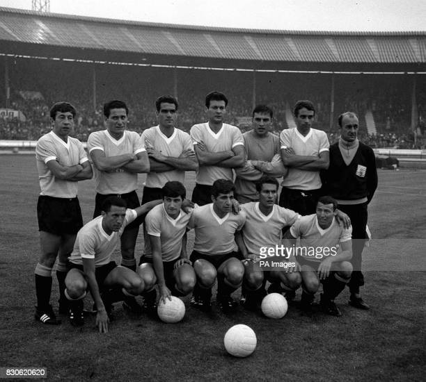 The Uruguay football team which beat France 21 in the 1966 World Cup at White City in London on LR Omar Caetano Horacio Troche Luis Ubinas Nestor...