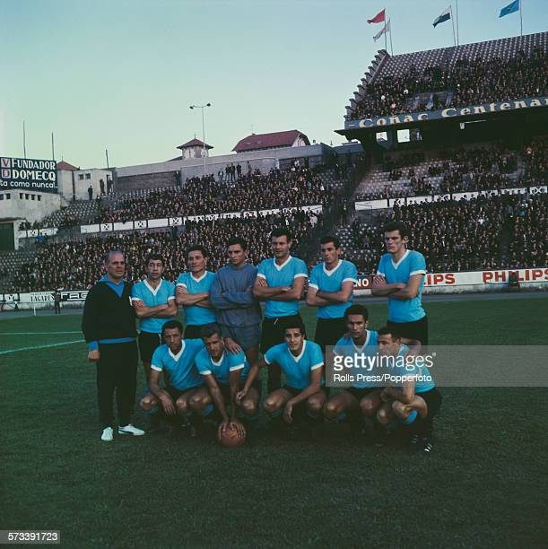 The Uruguay national football team posed together on a football pitch on 29th June 1966 prior to their competing in the 1966 FIFA World Cup finals in...