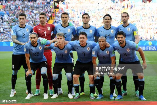 The Uruguay players pose for a team photo prior to the 2018 FIFA World Cup Russia group A match between Uruguay and Saudi Arabia at Rostov Arena on...