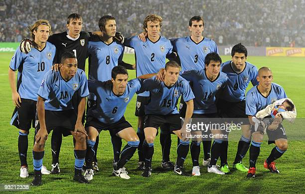 The Uruguay Team before the 2010 FIFA World Cup Play Off Second Leg Match between Uruguay and Costa Rica at The Estadio Centenario on November 18...