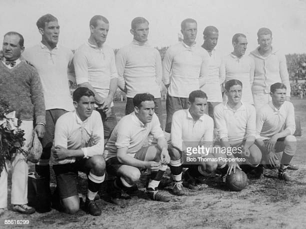 The Uruguayan team prior to the FIFA World Cup Final between Uruguay and Argentina at the Estadio Centenario in Montevideo 30th July 1930 Uruguay won...