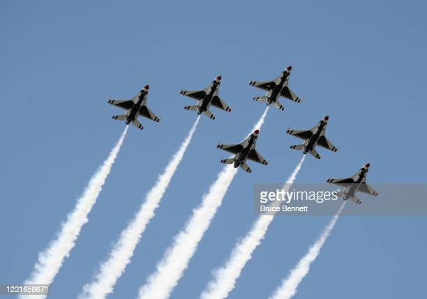 The US Air Force Thunderbirds honor first responders on the front lines of the coronavirus pandemic by flying over Manhattan on April 28 2020 in New...