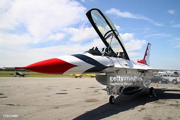 The US Air Force Thunderbirds jet is on display during media day for the 53rd Annual Chicago Air Water Show at the Gary Jet Center in Gary Indiana on...
