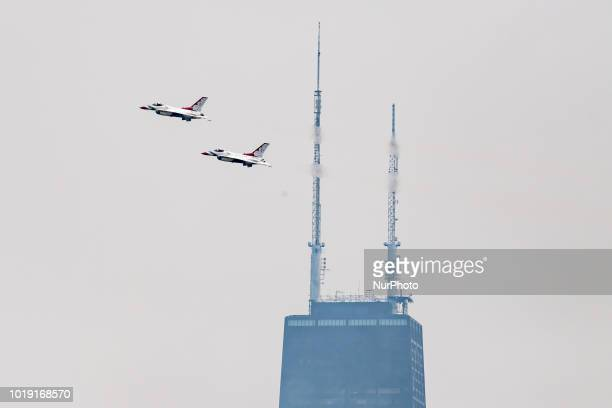 The US Air Force Thunderbirds perform during the 60th anniversary of the Chicago Air and Water Show in Chicago IL on August 18 2018
