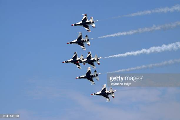 The US Air Force Thunderbirds performs during the 53rd Annual Chicago Air Water Show over North Avenue Beach in Chicago Illinois on AUG 20 2011