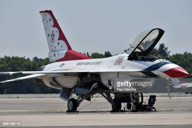 The US Air Force Thunderbirds practice at 2018 Great New England Air and Space Show Media Day at Westover Air Force Base on July 13 2018 in Chicopee...