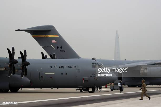 The US Air Force's C130J Super Hercules turboprop military transport aircraft manufactured by Lockheed Martin Corp stands on display during a press...