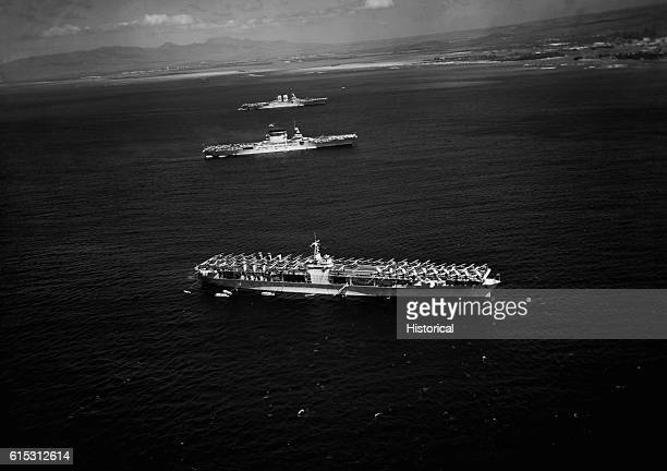The US aircraft carriers USS Ranger USS Lexington and USS Saratoga off Honolulu ca 19411945 | Location off the coast of Honolulu Hawaii USA