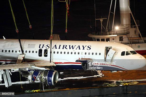 The US Airways Airbus A320 is seen on a barge in the Hudson River Saturday January 17 2009 in New York City US Airways Flight 1549 crashed shortly...