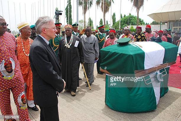 The US Ambassador to Nigeria Terence P McCulley pays last respect at to the remains of the late Nigeria's secessionist leader Odumegwu Ojukwu at the...