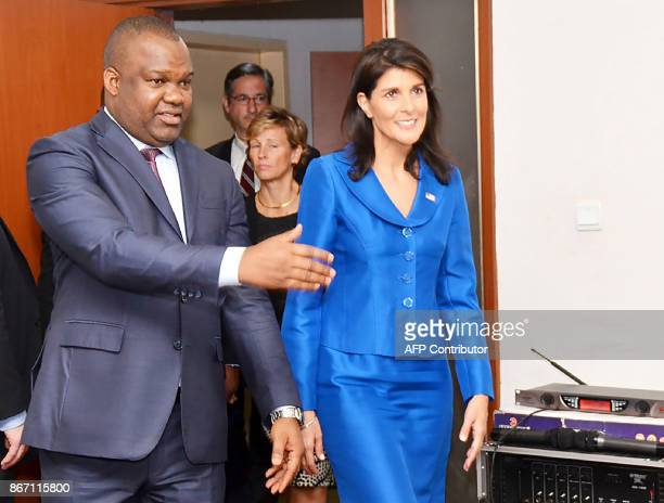 The US ambassador to the United Nations Nikki Haley meets DR Congo's national independent electoral commission's president Corneille Nangaa Yobeluo...