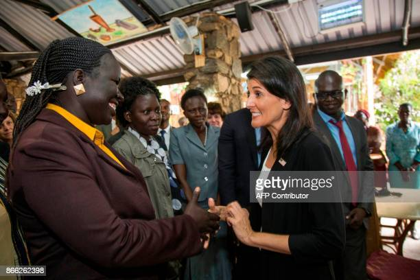 The US Ambassador to the United Nations Nikki Haley meets with staff members of the US embassy in Juba South Sudan on October 25 2017 Nikki Haley...