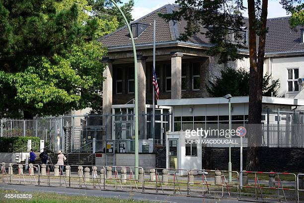 The US American flag is at half mast at the US Embassy in Berlin's Clayallee on September 13 after US Embassy and consulate buildings were attacked...