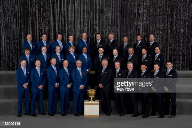 The US and International Teams pose for their formal team photo prior to the Opening Ceremony for The Presidents Cup on October 2 2013 in Columbus...