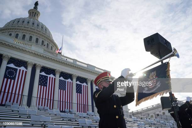 The U.S. Army Band performs during a dress rehearsal for the 59th inaugural ceremony for President-elect Joe Biden and Vice President-elect Kamala...